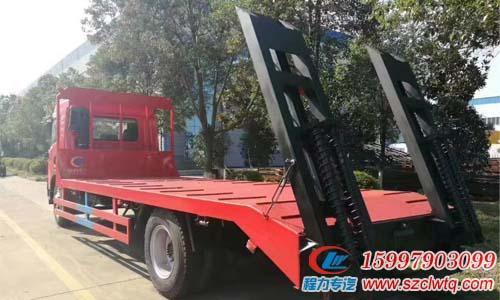 国五解放龙v平板运输车搭载锡柴180马力国五发动机最大承载15吨